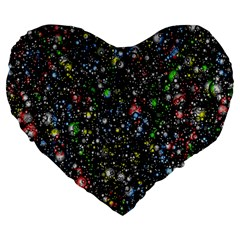 Universe Star Planet All Colorful Large 19  Premium Flano Heart Shape Cushions by Celenk
