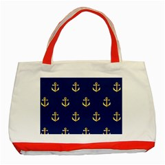 Gold Anchors Background Classic Tote Bag (red) by Celenk