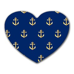 Gold Anchors Background Heart Mousepads by Celenk