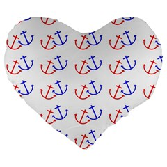 Anchors Nautical Backdrop Sea Nautical Large 19  Premium Flano Heart Shape Cushions by Celenk