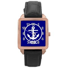 Anchor Flag Blue Background Rose Gold Leather Watch