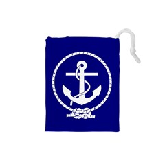 Anchor Flag Blue Background Drawstring Pouches (small)  by Celenk