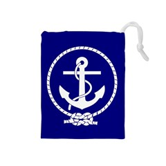 Anchor Flag Blue Background Drawstring Pouches (medium)  by Celenk