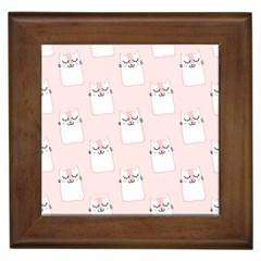 Pattern Cat Pink Cute Sweet Fur Framed Tiles