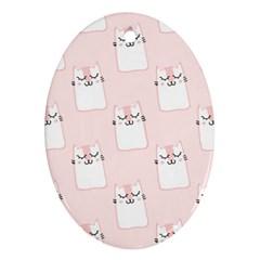 Pattern Cat Pink Cute Sweet Fur Ornament (oval) by Celenk