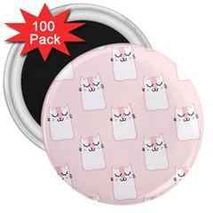 Pattern Cat Pink Cute Sweet Fur 3  Magnets (100 Pack) by Celenk