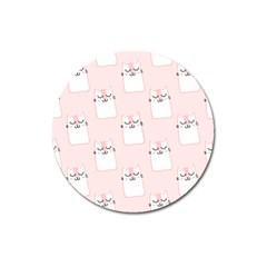 Pattern Cat Pink Cute Sweet Fur Magnet 3  (round) by Celenk