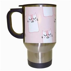 Pattern Cat Pink Cute Sweet Fur Travel Mugs (White)