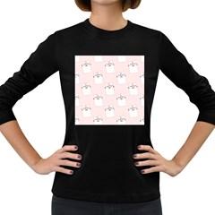 Pattern Cat Pink Cute Sweet Fur Women s Long Sleeve Dark T Shirts by Celenk