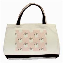 Pattern Cat Pink Cute Sweet Fur Basic Tote Bag (Two Sides)
