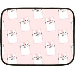 Pattern Cat Pink Cute Sweet Fur Double Sided Fleece Blanket (Mini)