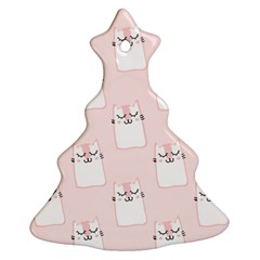 Pattern Cat Pink Cute Sweet Fur Christmas Tree Ornament (two Sides) by Celenk