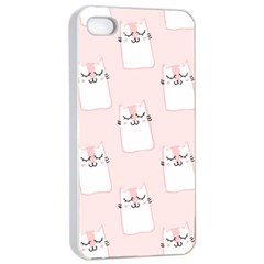 Pattern Cat Pink Cute Sweet Fur Apple iPhone 4/4s Seamless Case (White)