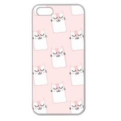 Pattern Cat Pink Cute Sweet Fur Apple Seamless Iphone 5 Case (clear) by Celenk