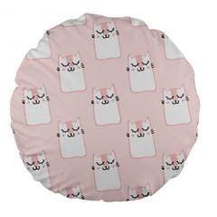 Pattern Cat Pink Cute Sweet Fur Large 18  Premium Round Cushions