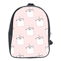 Pattern Cat Pink Cute Sweet Fur School Bag (XL)