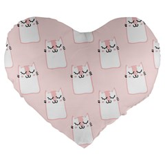Pattern Cat Pink Cute Sweet Fur Large 19  Premium Heart Shape Cushions