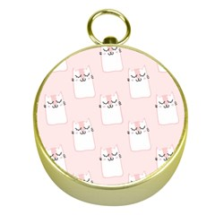 Pattern Cat Pink Cute Sweet Fur Gold Compasses