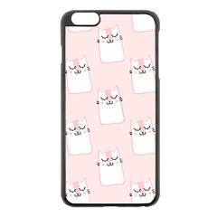 Pattern Cat Pink Cute Sweet Fur Apple iPhone 6 Plus/6S Plus Black Enamel Case