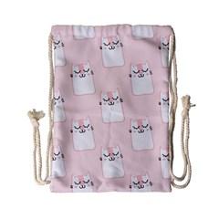 Pattern Cat Pink Cute Sweet Fur Drawstring Bag (Small)