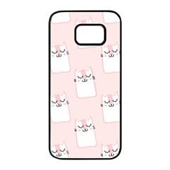 Pattern Cat Pink Cute Sweet Fur Samsung Galaxy S7 edge Black Seamless Case