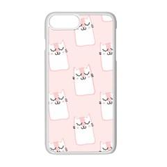 Pattern Cat Pink Cute Sweet Fur Apple iPhone 8 Plus Seamless Case (White)
