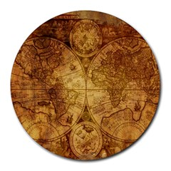 Map Of The World Old Historically Round Mousepads by Celenk