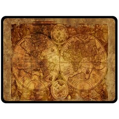 Map Of The World Old Historically Double Sided Fleece Blanket (large)  by Celenk
