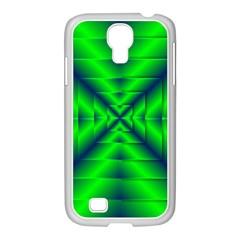 Shiny Lime Navy Sheen Radiate 3d Samsung Galaxy S4 I9500/ I9505 Case (white) by Celenk