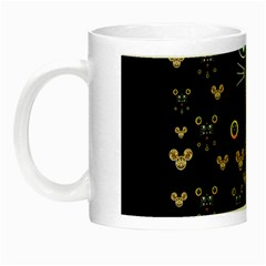 Merry Black Cat In The Night And A Mouse Involved Pop Art Night Luminous Mugs by pepitasart