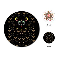 Merry Black Cat In The Night And A Mouse Involved Pop Art Playing Cards (round)  by pepitasart