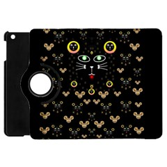 Merry Black Cat In The Night And A Mouse Involved Pop Art Apple Ipad Mini Flip 360 Case by pepitasart