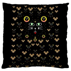 Merry Black Cat In The Night And A Mouse Involved Pop Art Standard Flano Cushion Case (one Side) by pepitasart