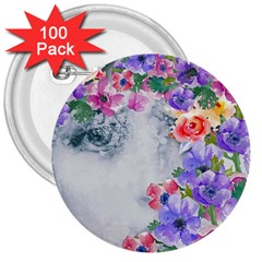 Flower Girl 3  Buttons (100 Pack)  by 8fugoso