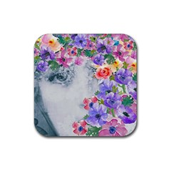 Flower Girl Rubber Square Coaster (4 Pack)  by 8fugoso