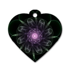 Mandala Fractal Light Light Fractal Dog Tag Heart (two Sides) by Celenk