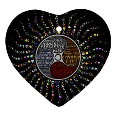 Whole Complete Human Qualities Heart Ornament (two Sides) by Celenk