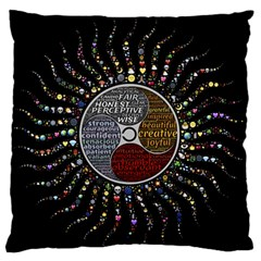 Whole Complete Human Qualities Large Flano Cushion Case (two Sides) by Celenk
