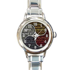 Person Character Characteristics Round Italian Charm Watch by Celenk