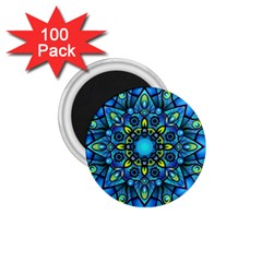 Mandala Blue Abstract Circle 1 75  Magnets (100 Pack)  by Celenk