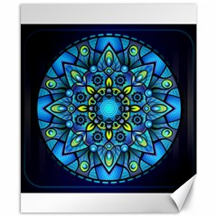 Mandala Blue Abstract Circle Canvas 8  X 10  by Celenk