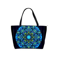 Mandala Blue Abstract Circle Shoulder Handbags by Celenk