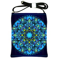 Mandala Blue Abstract Circle Shoulder Sling Bags by Celenk