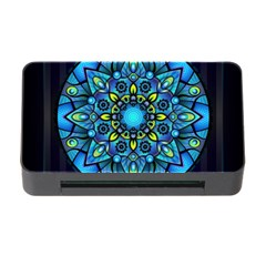 Mandala Blue Abstract Circle Memory Card Reader With Cf by Celenk