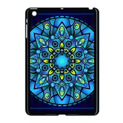 Mandala Blue Abstract Circle Apple Ipad Mini Case (black) by Celenk