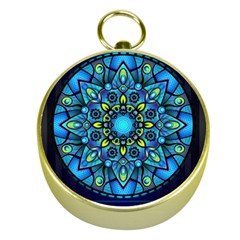 Mandala Blue Abstract Circle Gold Compasses by Celenk