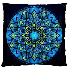 Mandala Blue Abstract Circle Large Flano Cushion Case (two Sides) by Celenk