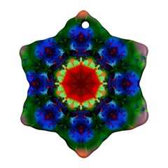 Fractal Digital Mandala Floral Snowflake Ornament (two Sides) by Celenk