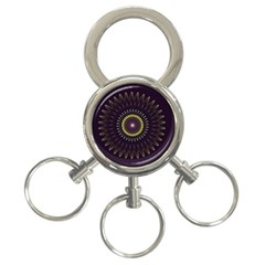 Fractal Purple Mandala Violet 3 Ring Key Chains by Celenk