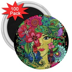 Mandala Figure Nature Girl 3  Magnets (100 Pack) by Celenk